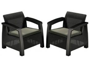 Кресло, Bahamas Duo set, коричневый - серо-бежевый